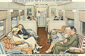 Twin Cities 400 - Image: Chicago and North Western Railway 400 liner lounge car circa 1930s