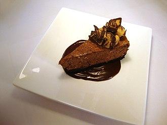 Graham cracker crust - A slice of chocolate cheesecake with a chocolate graham cracker crust