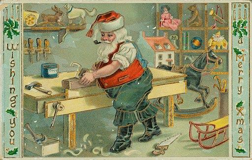 "Christmas postcard with shirt-sleeved Santa Claus in workshop making toys, with ""Wishing You a Merry Xmas"""