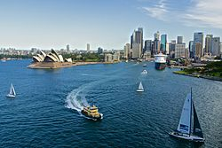 Circular Quay, with the Queen Mary 2 docked, as seen from the Sydney Harbour Bridge