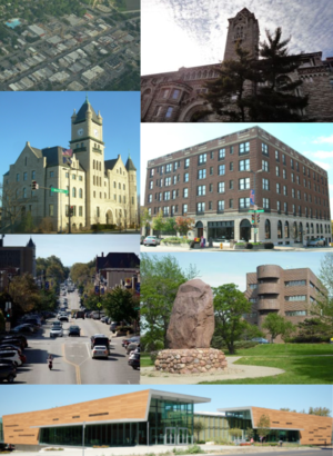 Clockwise from top-right: Dyche Hall, Eldridge Hotel, Shunganunga Boulder, Lawrence Public Library, Massachusetts Street, Douglas County Courthouse, aerial view of city