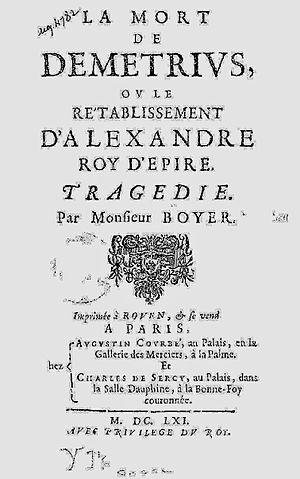 Claude Boyer - Page de garde de La Mort de Démétrius
