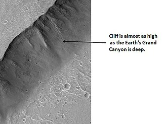 Kasei Valles - Image: Cliff in Mare Acidalium