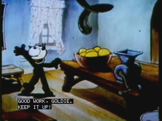 Closed captioning - A still frame showing simulated closed captioning in the pop-on style