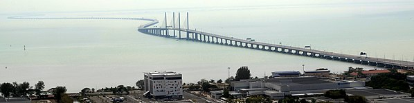 The Second Penang Bridge, 24 km-long (15 mi), is the longest bridge in Southeast Asia. Cmglee Penang Second Bridge aerial.jpg