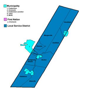 Sunbury County, New Brunswick - Map of municipal government units in Sunbury County.