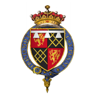 Thomas FitzAlan, 17th Earl of Arundel - Arms of Sir Thomas Fitzalan, 17th Earl of Arundel, KG: FitzAlan quartering Maltravers, with a label of three points argent for the difference of an eldest son.