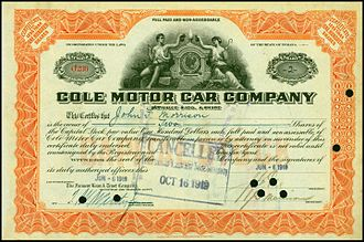 Cole Motor Car Company - Share of the Cole Motor Car Company, issued 6. June 1919
