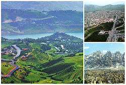 Clockwise, from left: Sulaymaniyah with Dukan Lake, Halabja and Ranya
