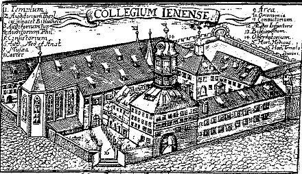 The University of Jena around 1600. Jena was the center of Gnesio-Lutheran activity during the controversies leading up to the Formula of Concord and afterwards was a center of Lutheran Orthodoxy. Collegium Jenense.jpg
