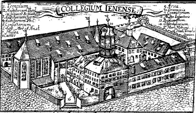 The University of Jena around 1600. Jena was the center of Gnesio-Lutheran activity during the controversies leading up to the Formula of Concord and afterwards was a center of Lutheran Orthodoxy.