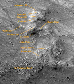 Columbia Hills (Mars) - Image: Columbia Hills Labelled