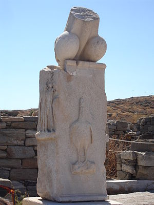 Delos - Column with phallus at the Stoivadeion, 2006
