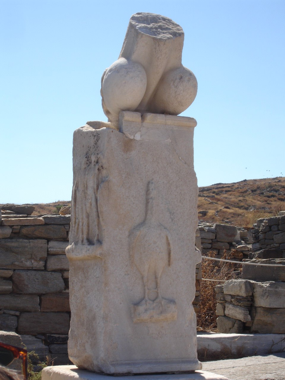 Column with Phallus at the Stoivadeion - Island of Delos, Greece