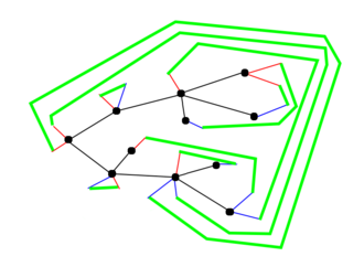 Blossom tree (graph theory) - The planar graph obtained from the blossom tree above. The green lines connect the opening and closing stems.