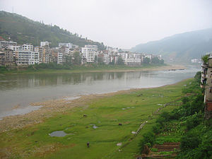 Congjiang County - A view of one half of the city from the bridge (2003-08-17)