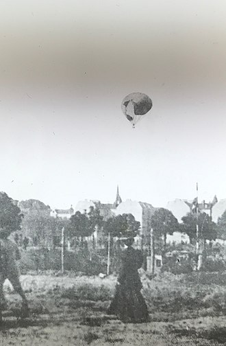 Augustus Post - The balloon Conqueror, flown by A. Holland Forbes and Augustus Post in the 1908 Gordon Bennett balloon race in Berlin, tearing open at 3,000 feet.