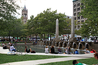Copley Square - Copley Square fountain, with Old South Church tower in distance