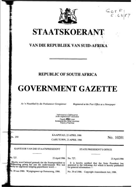 File:Copyright Amendment Act 1986 from Government Gazette.djvu