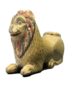 Corinthian parfume vase in the form of lion, 600 BC, Syracuse.png