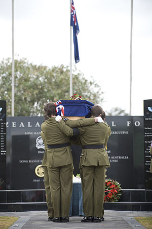 New Zealand Special Air Service - The casket of Corporal Douglas Grant at Papakura Army Camp