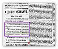 """Correio mercantil (Brasil) 1 de Mayo 1854 anuciando que """" en el dia de ayer se inauguro el ferrocarril de Maua y que al volver de la excursion su majestad Pedro II nombro Baron de Maua a Ireneo Evangelista de Souza.jpg"""