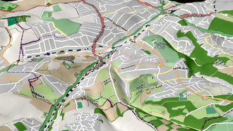 Coulsdon - A topological view of Coulsdon, showing the various hill and valleys.