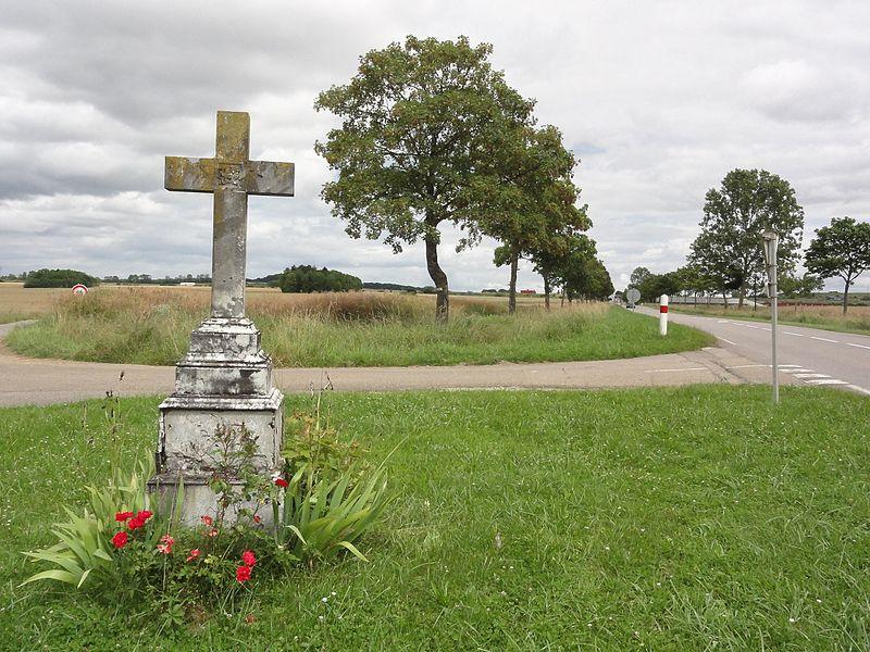 Crantenoy (M-et-M) paysage avec croix de chemin