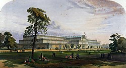 Crystal Palace from the northeast from Dickinson's Comprehensive Pictures of the Great Exhibition of 1851. 1854.jpg
