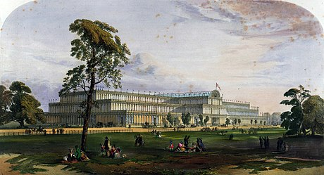 May 1: Great Exhibition in London. Crystal Palace from the northeast from Dickinson's Comprehensive Pictures of the Great Exhibition of 1851. 1854.jpg