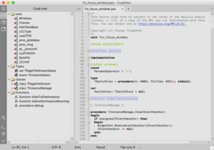 A screenshot of CudaText on macOS showing a section of the CudaText source code.