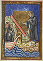 Cuthbert discovers piece of timber - Life of St. Cuthbert (late 12th C), f.45v - BL Yates Thompson MS 26.jpg