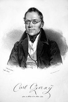 Carl Czerny, Lithografie von Joseph Kriehuber, 1833 (Quelle: Wikimedia)