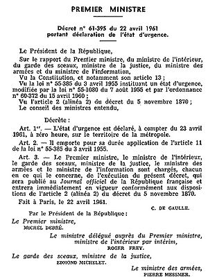 States of emergency in France - Decree to declare the state of emergency on 22 April 1961