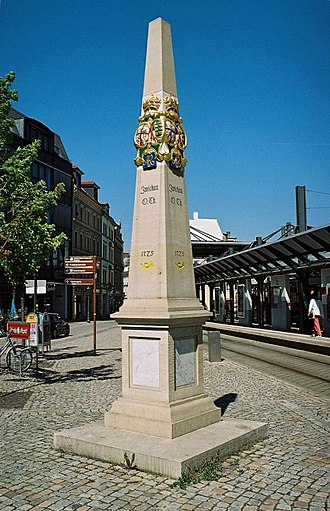 Silver Road - Post milestone at Zwickau, Obertor - start of the Silver Road