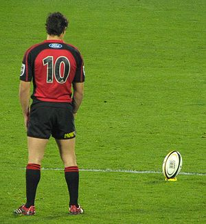 Crusaders (rugby union) - Record points scorer Dan Carter preparing to kick a conversion.