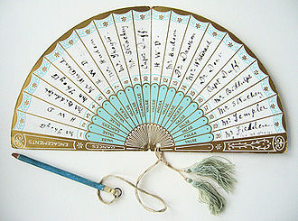 Dance card - Dance engagements card for 11 January 1887, showing a list of all the dances for the evening - valse, polka, lancers and quadrille; opposite each dance is a space to record the name of the partner for that dance. After the event the card was probably kept as a souvenir of the evening