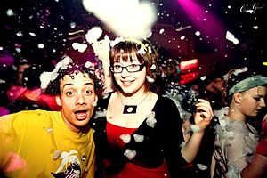 Partygoers at a foam party in Glasgow at the C...