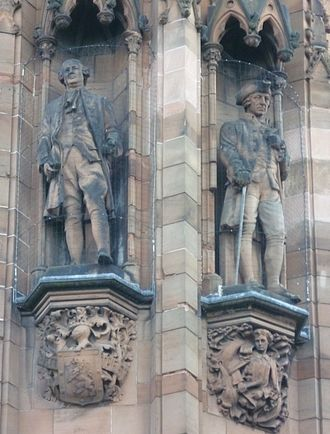Scottish National Portrait Gallery - Sculpted figures of David Hume and Adam Smith on the Gallery exterior