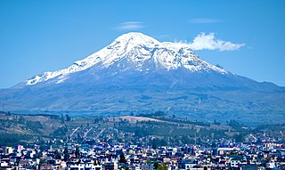 Chimborazo volcano and highest mountain in Ecuador; the summit is the farthest point on the Earths surface from the Earths center (as well as the closest point to the moon on Earth)