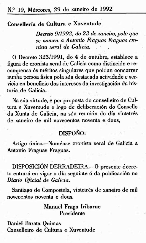 Decreto polo que se nomea a Antonio Fraguas cronista xeral de Galicia.
