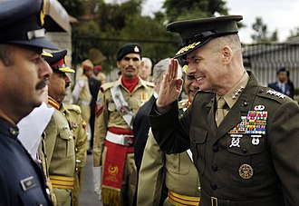 Pakistan Armed Forces - General Peter Pace salutes Pakistani servicemen.
