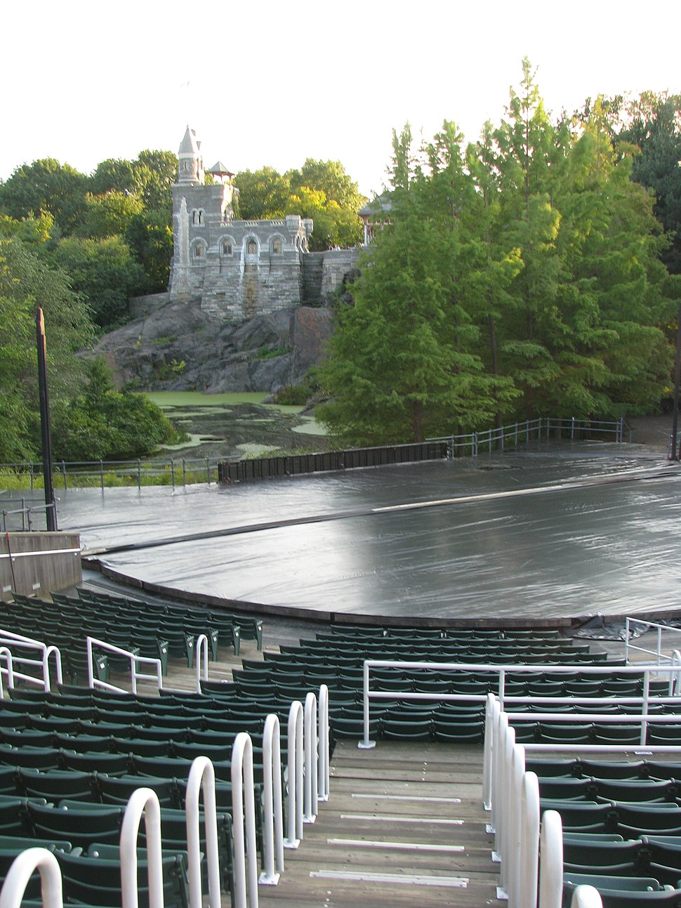 Delacorte Theater stage viewed from aisle M-N