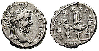 Legio XXII Primigenia - This denarius, struck in 193 under Septimius Severus, celebrates XXII Primigenia, one of the legions which supported the commander of the Pannonian army in his bid for purple