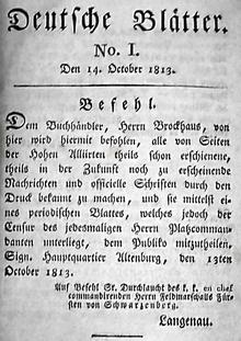 Publikationsanordnung für Brockhaus auf Befehl des Fürsten Schwarzenberg in der ersten Ausgabe der Deutschen Blätter aus dem Jahr 1813 (Quelle: Wikimedia)