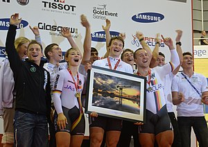2012–13 UCI Track Cycling World Cup - The German team (pictured in Glasgow) won the overall team standings.