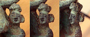 Dian Kingdom - Close-up face of a Dian Kingdom person. Bronze sculpture, 3rd century BCE, Yunnan, China.