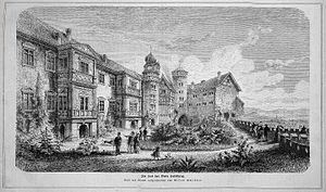 Nikolaus Gromann - The courtyard of the castle Veste Heldburg in 1872, left the Französischer Bau(French Building)