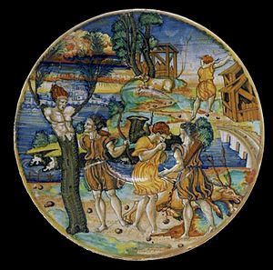 Giorgio Andreoli - Dish (1525-1530) depicting Cyparissus's metamorphosis lustered by Giorgio Andreoli.