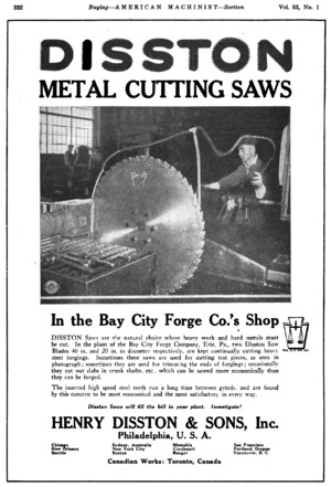 Disston Saw Works - Image: Disston saw advert in American Machinist v 53 n 1 1920 p 332